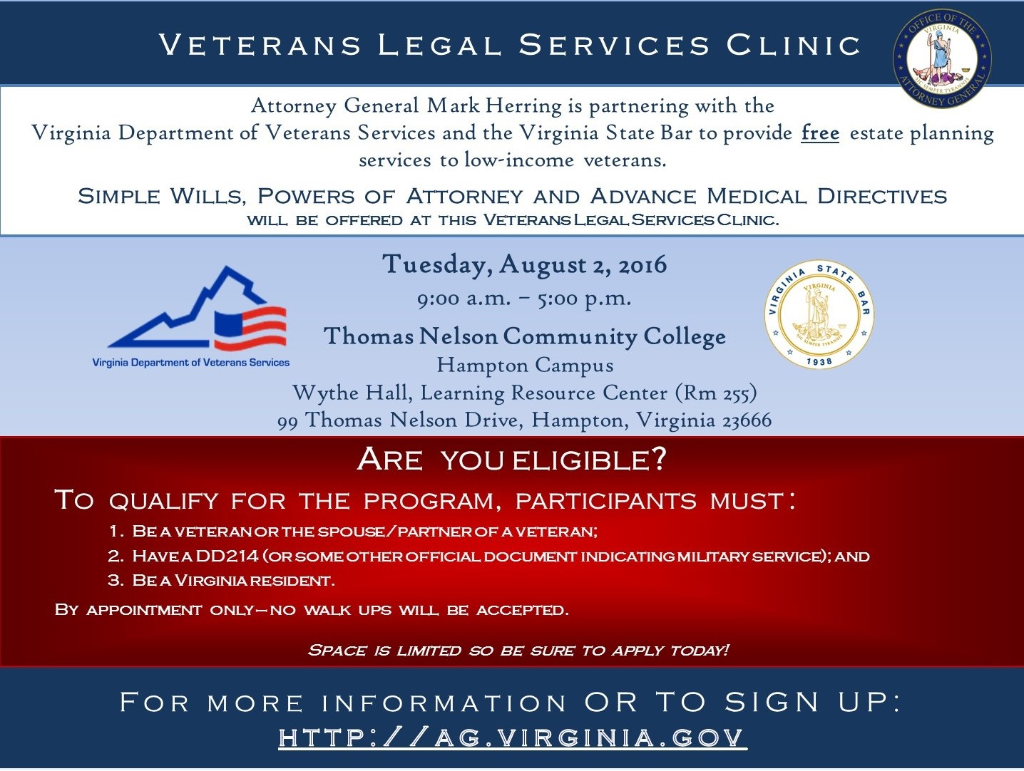 Veteran Legal Services Clinic Flyer